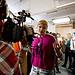 T4 presenter Georgie Okell presents to camera