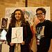 Artist Rachel Gadsden with participant in Big Draw