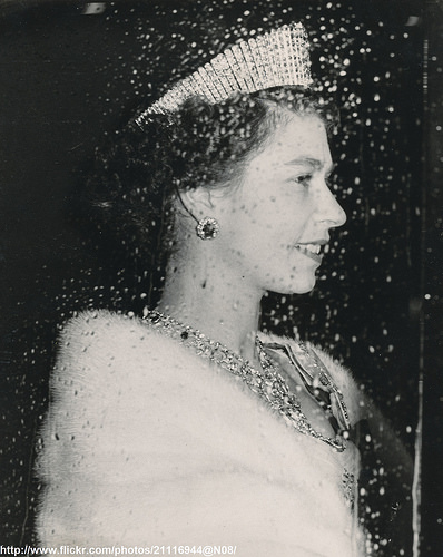 H.M.Queen Elizabeth in evening gown
