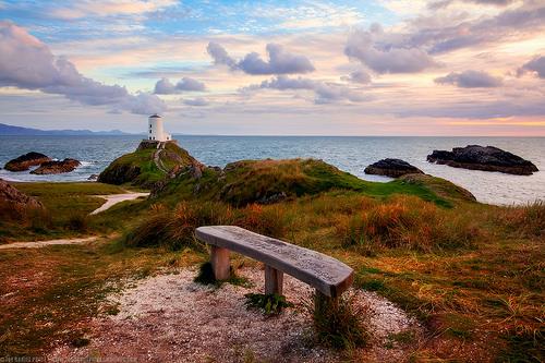 Bench at Twr Mawr Lighthouse, Llanddwyn Island, Newborough Warren, Anglesey, Wales