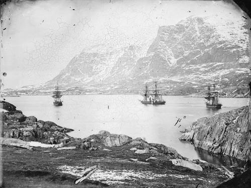 HMS 'Phoenix' (1832), HMS 'Talbot' (1824) and HMS 'Diligence' (1814) at anchor, Holsteinborg
