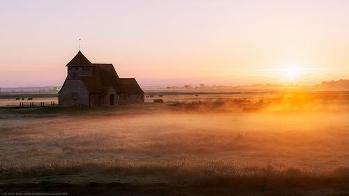 St Thomas Beckett Church in the Misty Morning, Fairfield, Kent, England